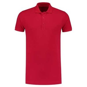 Lemon & Soda L&S unisex polo Basic Cotton Elasthan rood