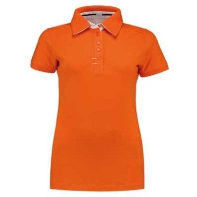 Lemon & Soda L&S Contrast Polo Elasthan oranje/wit