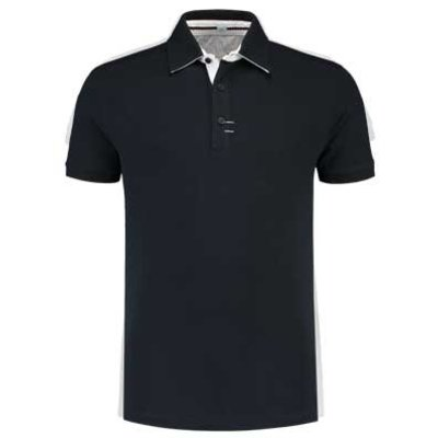 Lemon & Soda L&S Contrast unisex polo navy/wit