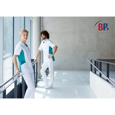 BP Damesjas kort wit/petrol