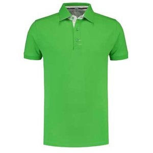 Lemon & Soda L&S Contrast unisex polo lime/wit