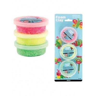 Foam clay set á 3 stuks groen, geel en neon pink