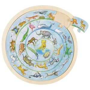 Puzzel werelddieren hout