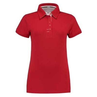 Lemon & Soda L&S Contrast Polo Elasthan rood/wit