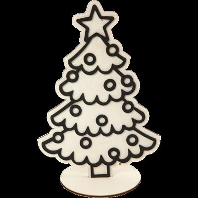 Kerstboom hout met foam motief