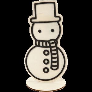 Sneeuwpop hout met foam motief