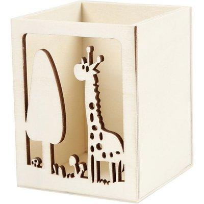 Houten pennenbakje aap of giraf