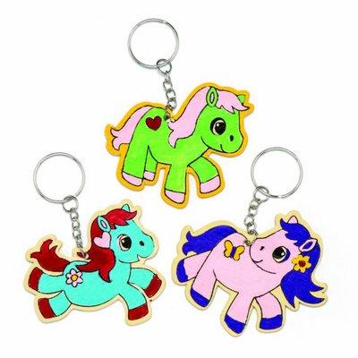 Sleutelhanger hout pretty pony