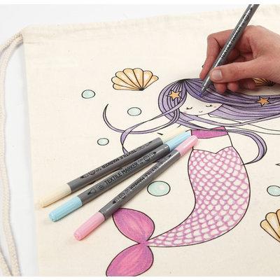 Textielstiften pasteltinten
