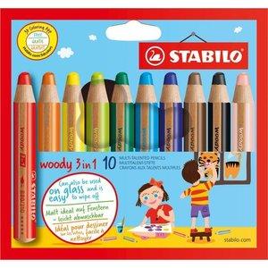 Stabilo Woody 3 in 1 (ook geschikt voor ramen!) 10 stuks