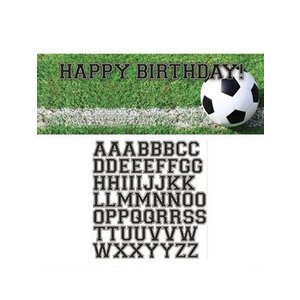 Happy Birthday Voetbal Banner + Sticker (152 cm)