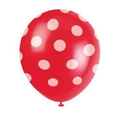 Ballonnen rood met witte stip