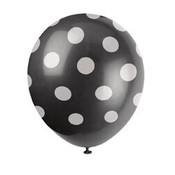 Ballonnen zwart met witte stip