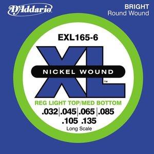 D'Addario EXL165-6 Snaren Nickel Wound Reg Light Top/Med BTM