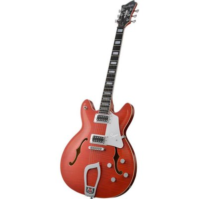 Hagstrom Super Viking Hollowbody gitaar Mandarin Flame
