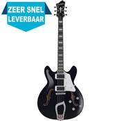 Hagstrom Super Viking Hollowbody gitaar Black Gloss