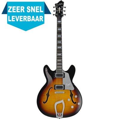 Hagstrom Super Viking Hollowbody gitaar Tobacco Sunburst