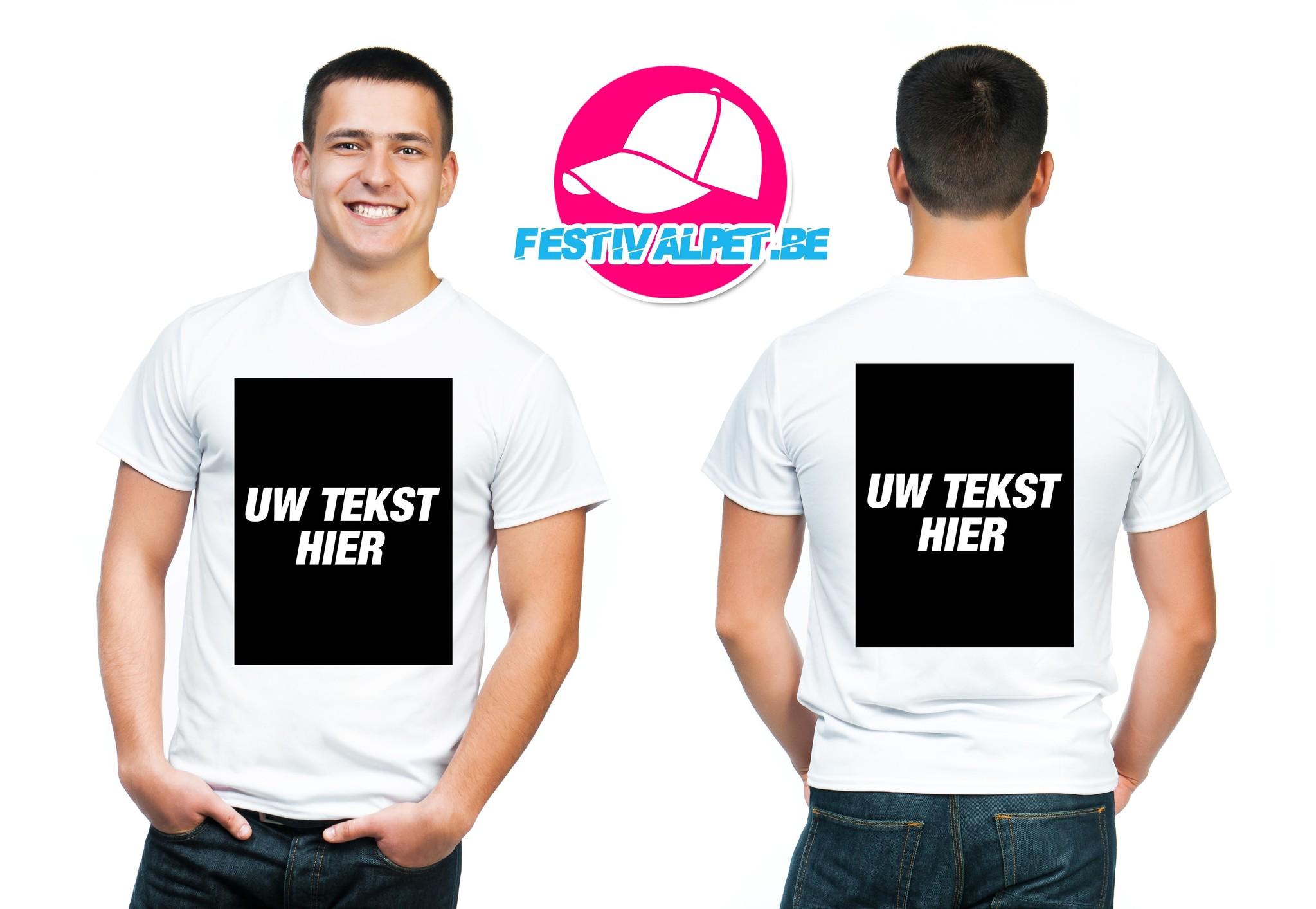 T-shirts opdruk A3 voorkant + achterkant MANNEN