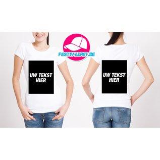T-shirts opdruk A3 voorkant + achterkant VROUWEN