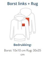 hoodie bedrukt voorkant borst en rugopdruk groot