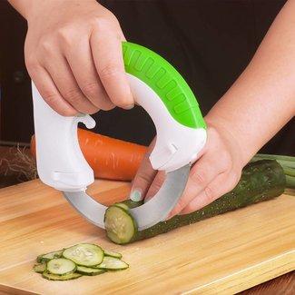 Nuevo Gadget de cocina Acero inoxidable rueda redonda vegetales Chopper Slicer Circular rodando cuchillo fácil herramientas de corte