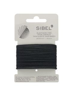 Sibel Haarelastiek Zwart Dun 16 stuks