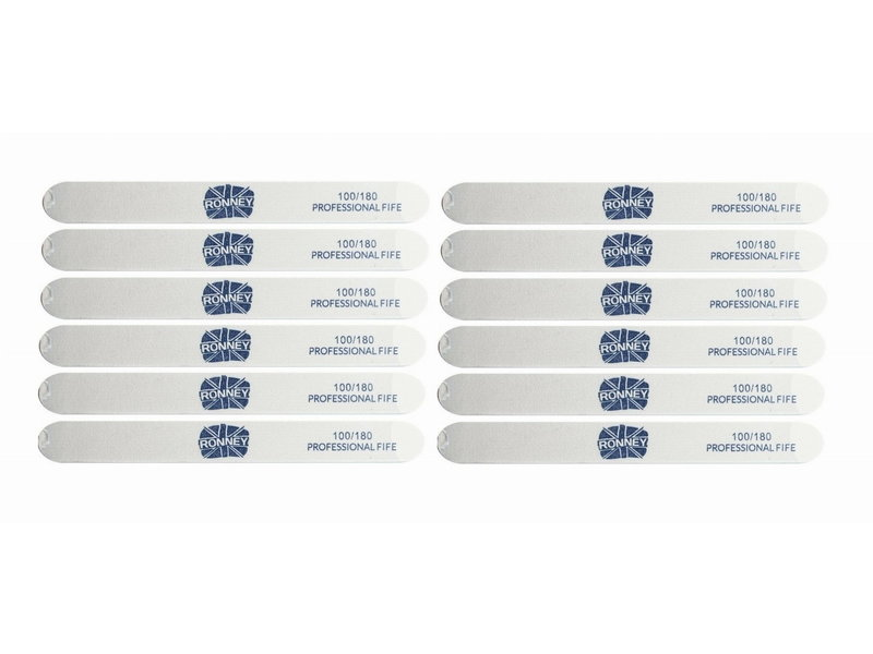 RONNEY Straight Nailfile  Zebra 100/180 - 12 stuks