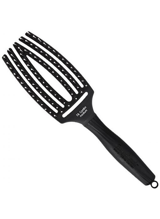 Olivia Garden Finger Brush Black Medium