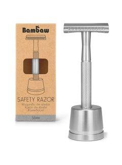 Bambaw Metalen Scheermes SILVER met Standaard