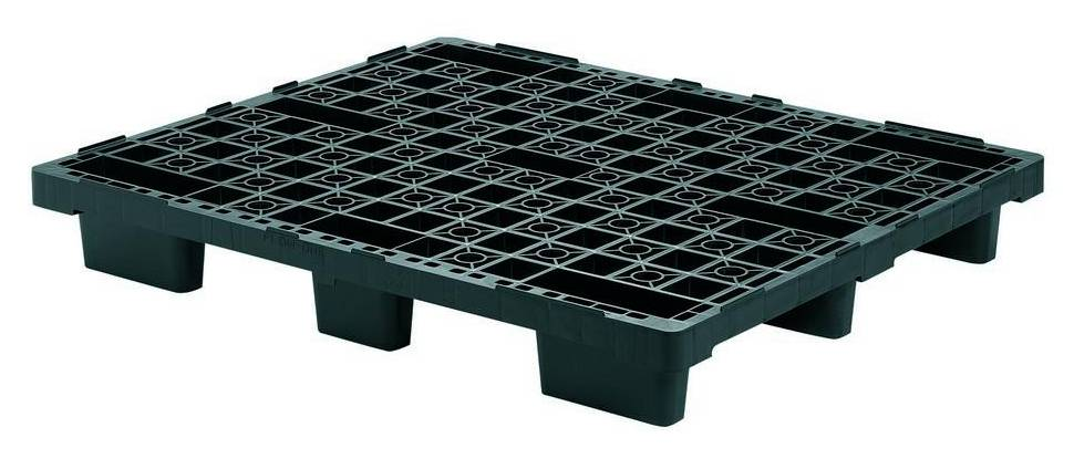 Nestable plastic export pallet 1200x1000x160 mm with 9 feet