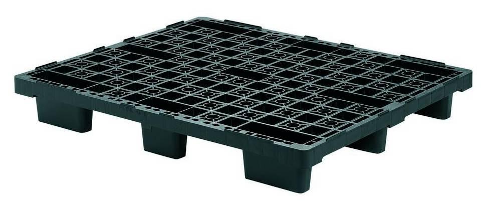 Nestbare kunststof pallet 1200x1000x160 mm, open dek, 9 poten
