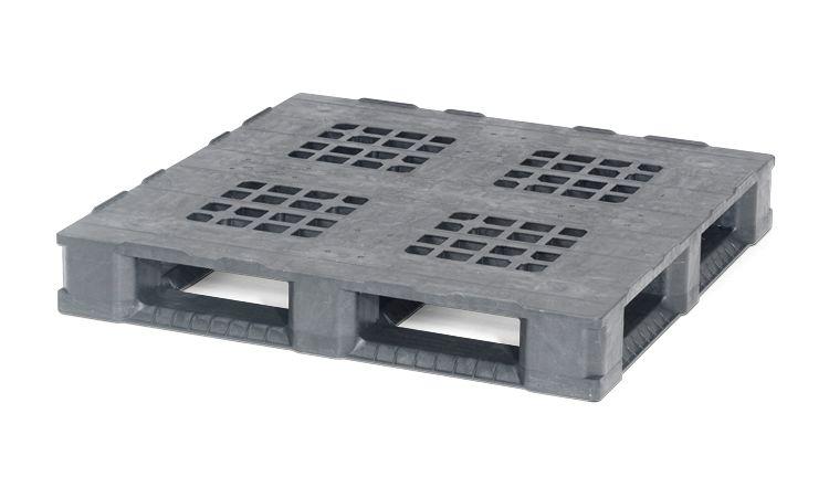 Palette plastique pour conteneur 1140x1140x165 mm, 6 traverses, planché ajouré