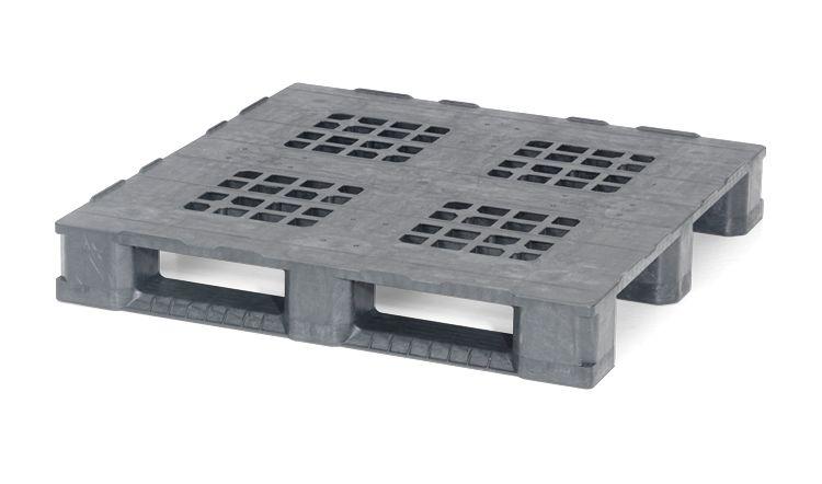 Kunststoff Containerpalette 1140x1140x165 mm, 3 Kufen, offenes Deck