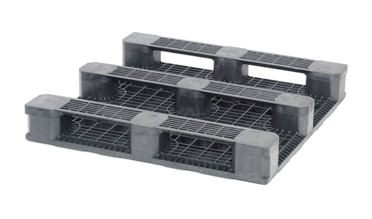 Plastic Container Pallet 1140x1140x165 mm, 3 runners, open deck