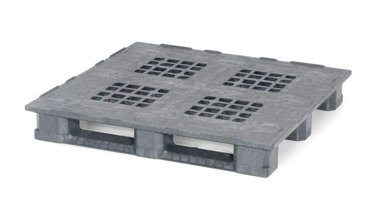 Kunststof industrie/Block-Pallet 1200x1200x165 mm 3 onderlatten , open dek