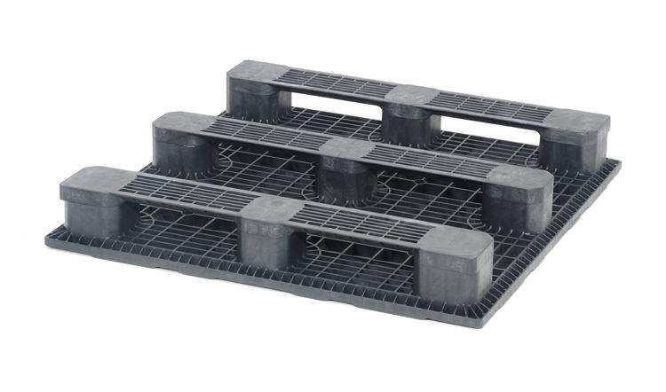 Palette industrielle plastique 1200x1200x165 mm, 3 traverses. planché ouvert