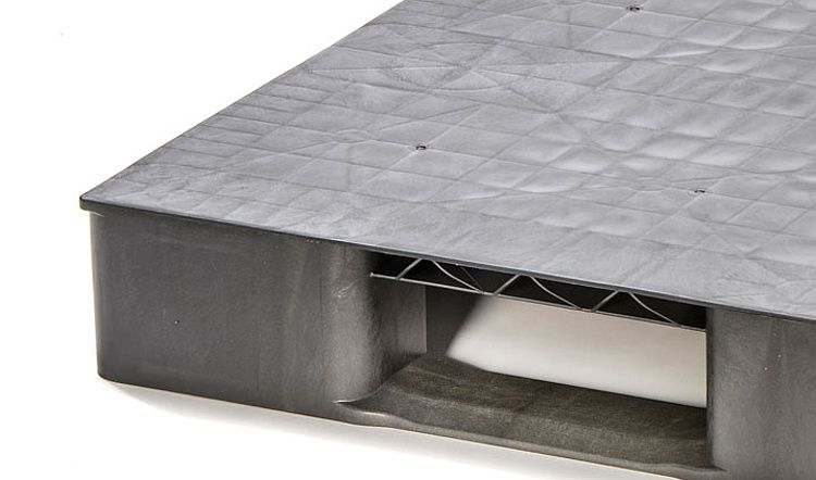 Kunststoff Eco-Palette 1200x800x150 mm, 2 Kufen, Geschlossenes Deck