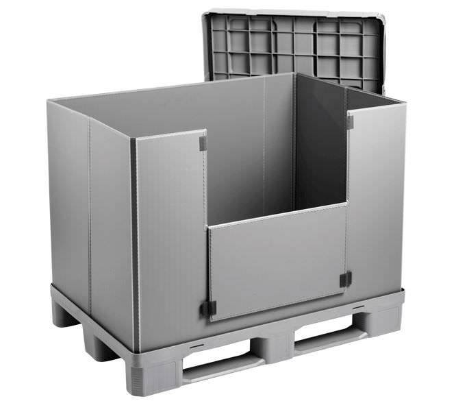 Kunststof Sleeve Pack 1200x800x940 mm 3 onderlatten,  gesloten pallet dek .
