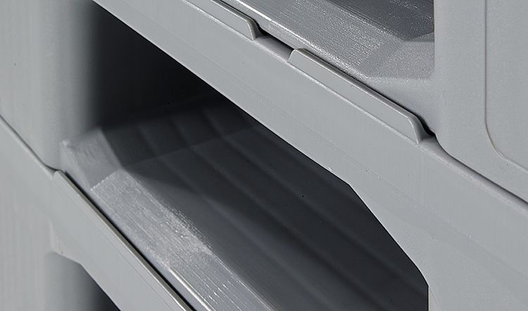 Hygiënische Kunststof pallet 1200x1000x160 mm, met 3 onderlatten , Gesloten dek