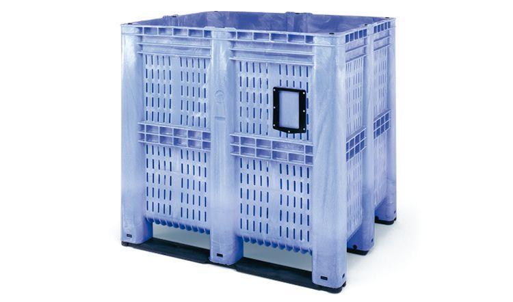 Hoge pallet box, 1300x1150x1250 mm, 1400 Liter,geperforeerde wanden, 3 onderlatten
