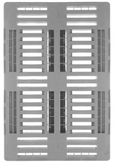 Kunststof H1, Hygiëne pallet 1200x800x160 mm, met 3 onderlatten, open dek, voedingsgeschikt