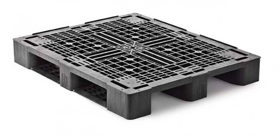 Medium last  Kunststof Industrie/Block-Pallet 1200x1000x160 mm , 3 onderlatten, open dek