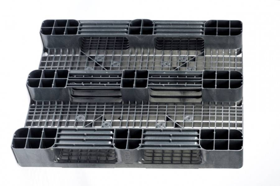 Kunststoff Industrie Palette 1200x1000x160 mm , 3 Kufen, Offenes Deck
