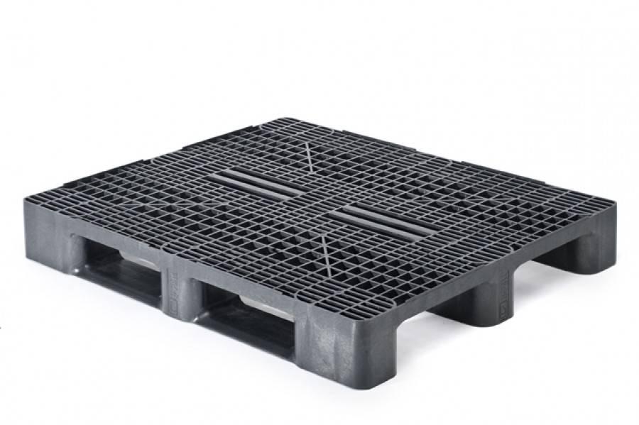 Palette plastique industrielle  1200x1000x160 mm, 3 semelles. planché ouvert