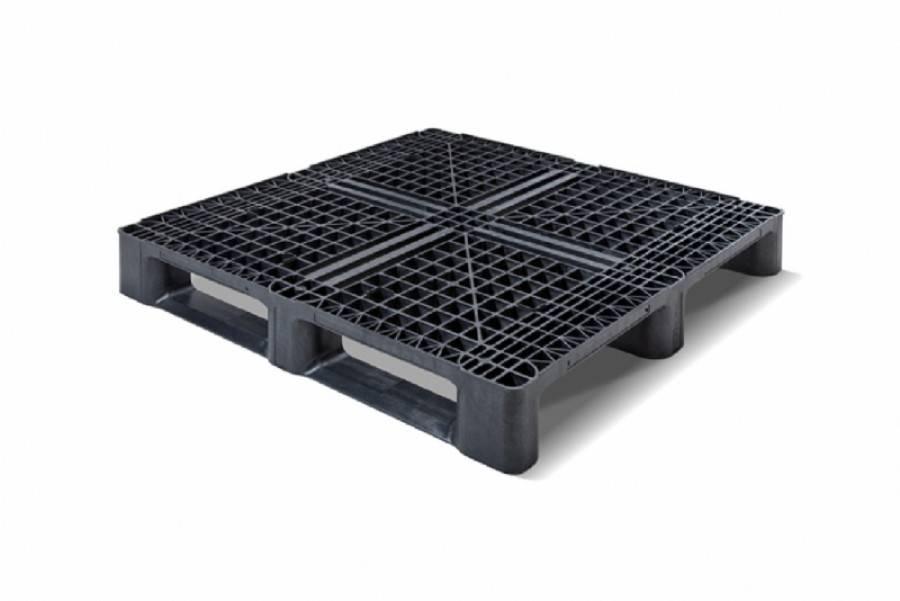 Kunststof container-Pallet 1140x1140x156 mm , 3 onderlatten, open dek