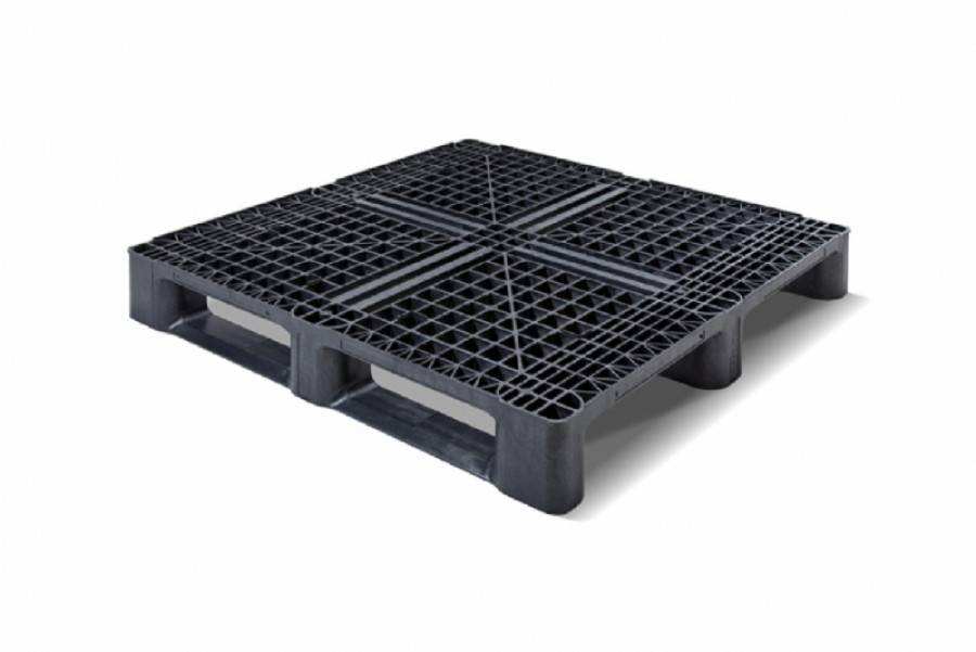 Plastic Container Pallet 1140x1140x156 mm 3 Runners , open deck