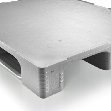Kunststof Hygiëne-Pallet 1200x1000x160 mm , 3 onderlatten, Gesloten dek