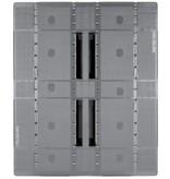 Palette industrie plastique 1200x1000x160 mm, 3 semelles , planché Semi  fermé