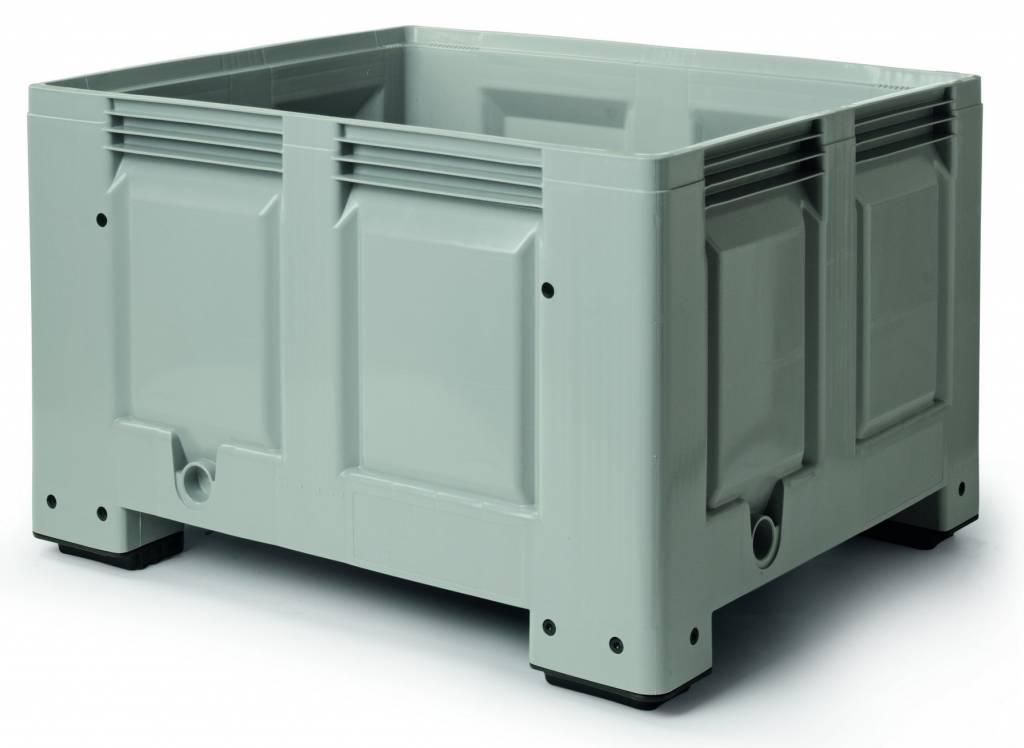 Caisse palette plastique rigide 1200x1000x760 mm, 620 Litres, parois fermées, 4 pieds