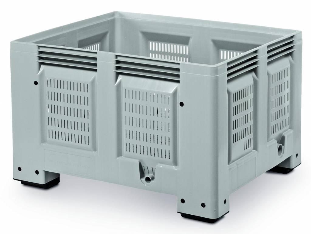 Kunststoff Palettenbox , 1200x1000x760 durchbrochene Wände en Bodem, 4 Füssen